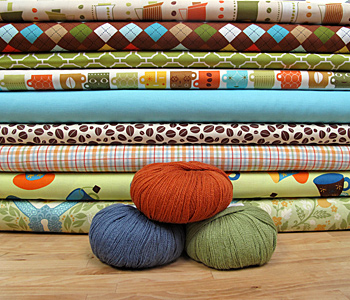 Coffee-themed fabric and yarn