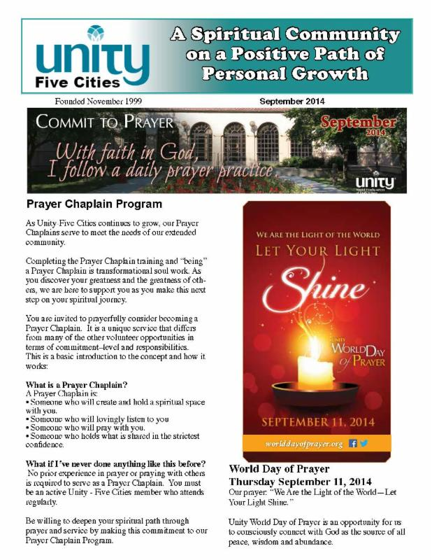 Click here for the September Unity newsletter