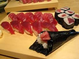 Maguro (tuna) sushi Rolls, Nigiri, Temaki