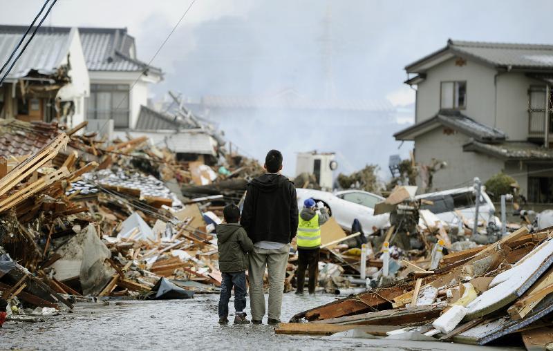 Tsunami Relief boy-father