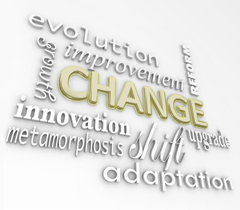 The word Change in gold 3D letters and other words that symbolize changing in order to achieve...