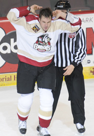 Tyson Gimblett pumps up the crowd after his first period fight