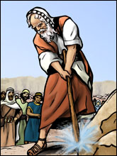 Image result for photo Moses' striking the rock