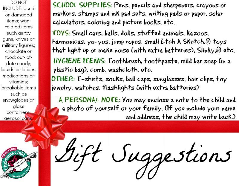 Operation Christmas Child 2017 Gift Ideas