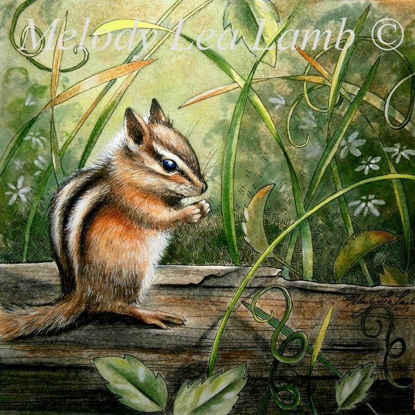Spring Chipmunk Painting