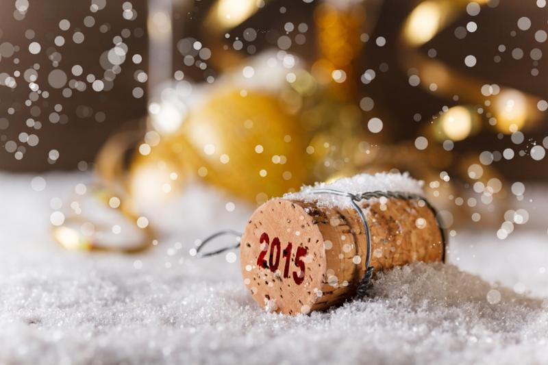New Year concept with champagne cork in snow
