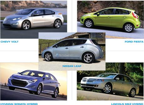 Five Green Car of the Year Finalists - Chevy Volt, Ford Fiesta, Nissan Leaf, Hyundai Sonata Hybrid, Lincoln MKZ Hybrid