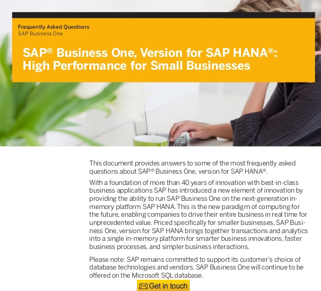 SAP Business One version, for HANA