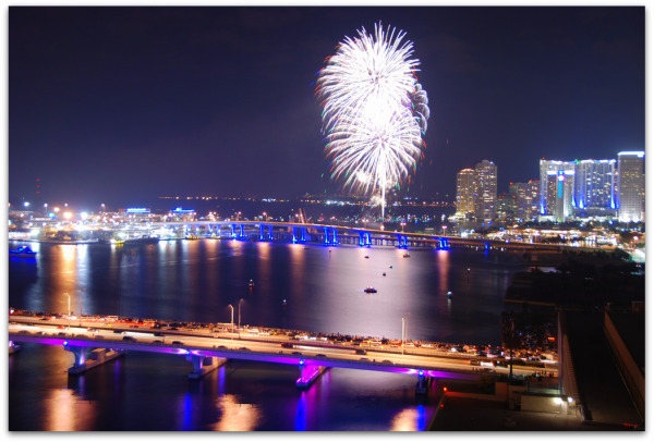 Fourth of July biscayne bay fireworks