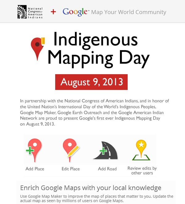 NCAI + Google - Indigenous Mapping Day: August 9, 2013