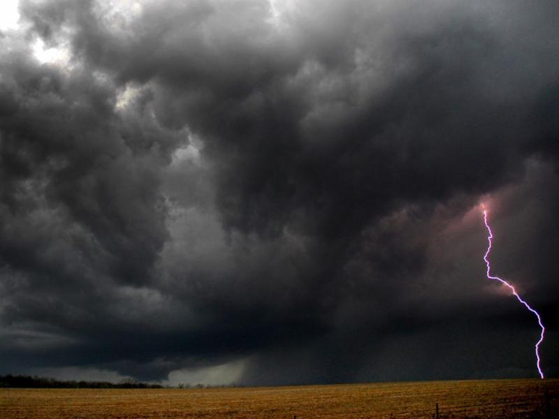 lightning storm over fields