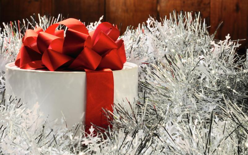 holiday red ribbon silver tinsel