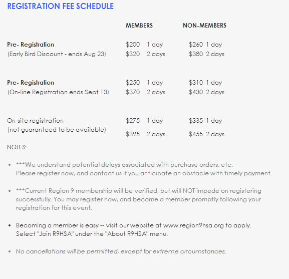 Registration Fee Schedule