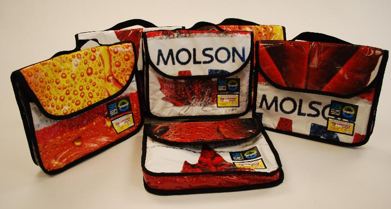 Molson Coors messenger bags made from billboards