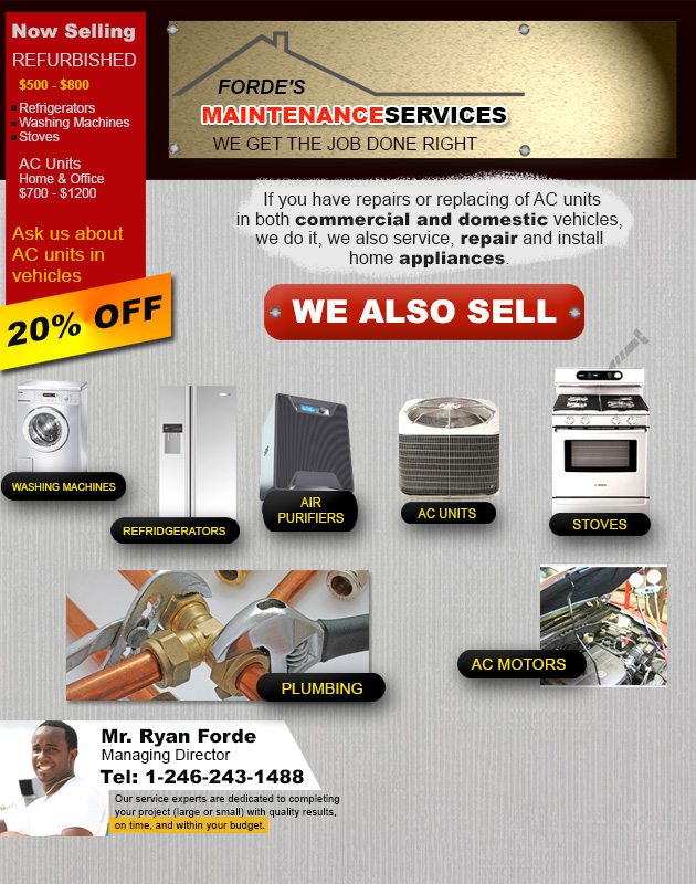 Call Forde's Maintenance Services to repair your appliances