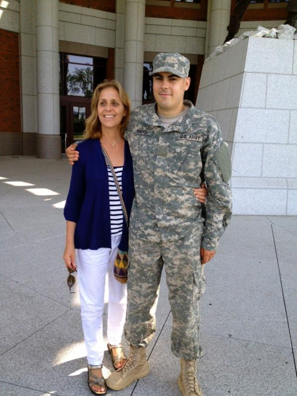 Jean Sachs with Son Max, a member of the US National Guard