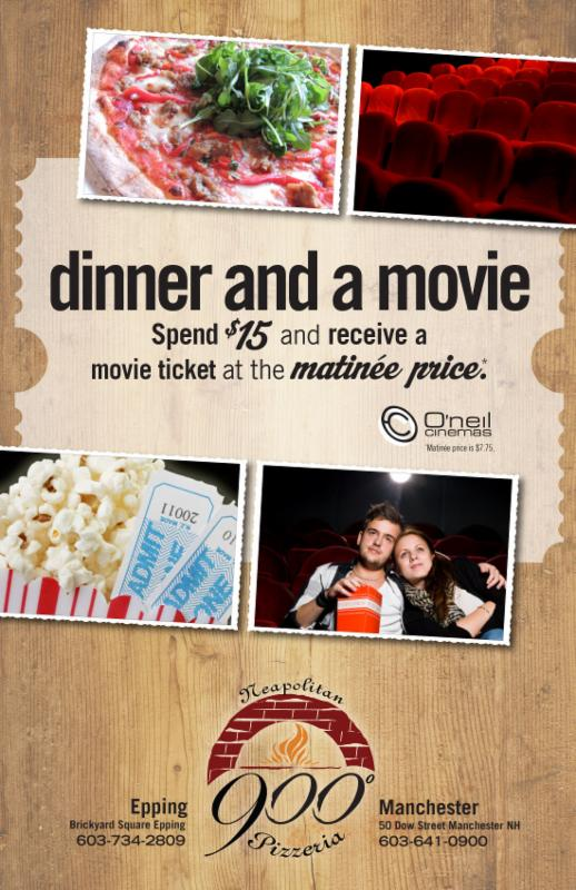 Dinner and a Movie with 900 Degrees and O'neil Cinemas