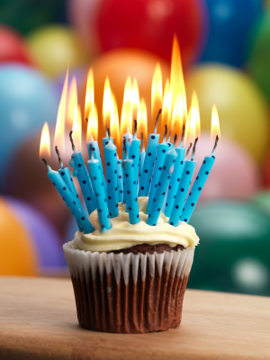 Cupcake with Blue Candles