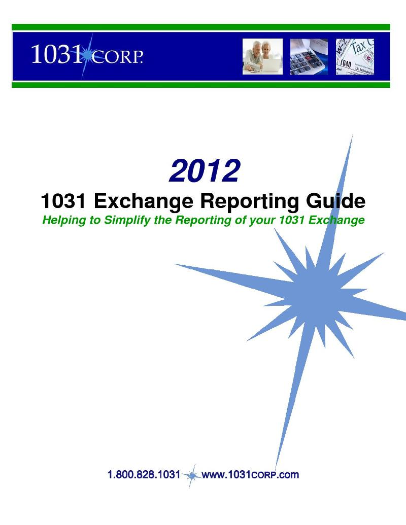 2012 Exchange Reporting Guide Cover