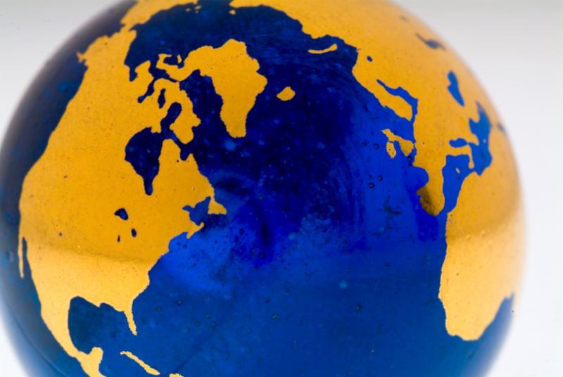 Atlantic ocean globe