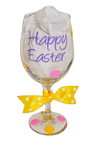 Happy Easter Wine Glass