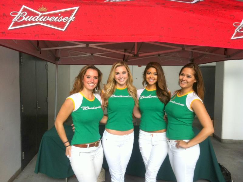 Budweiser girls as A's fan fest.
