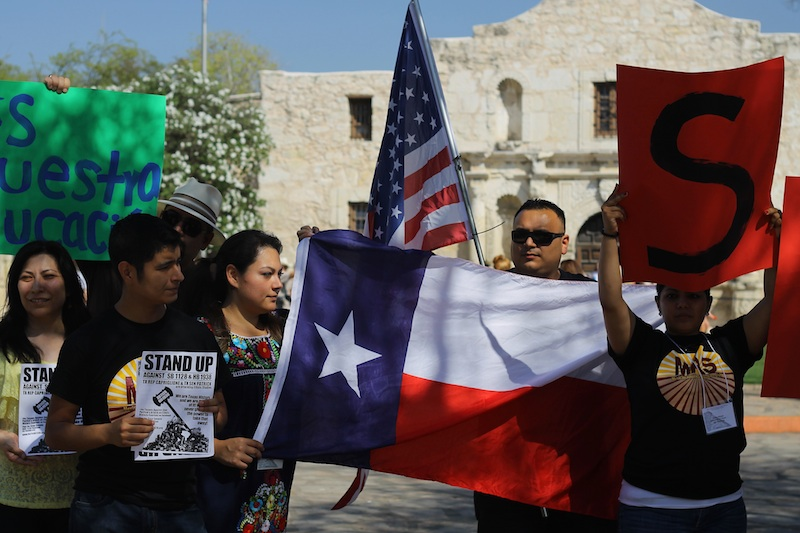 TX & US Flags at the Alamo