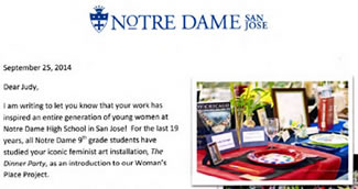 Letter from Notre Dame HS, San Jose, CA