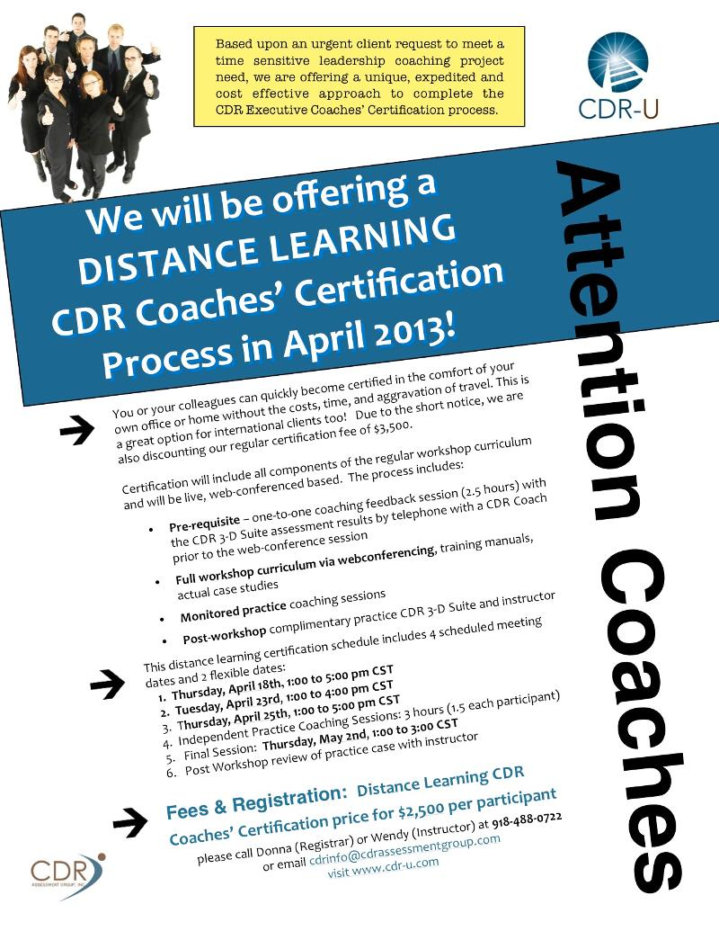 Cdr Hosts Distance Learning Coaches Certification In April