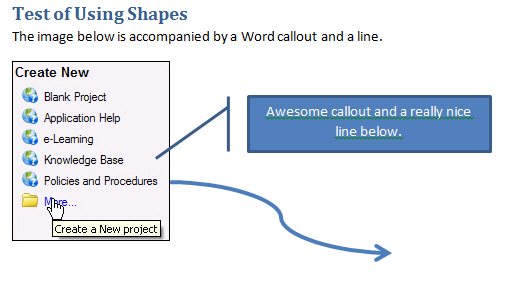 Example of a callout and line in Word