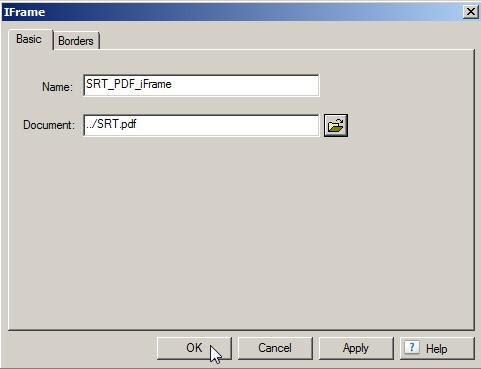 iFrame dialog box.