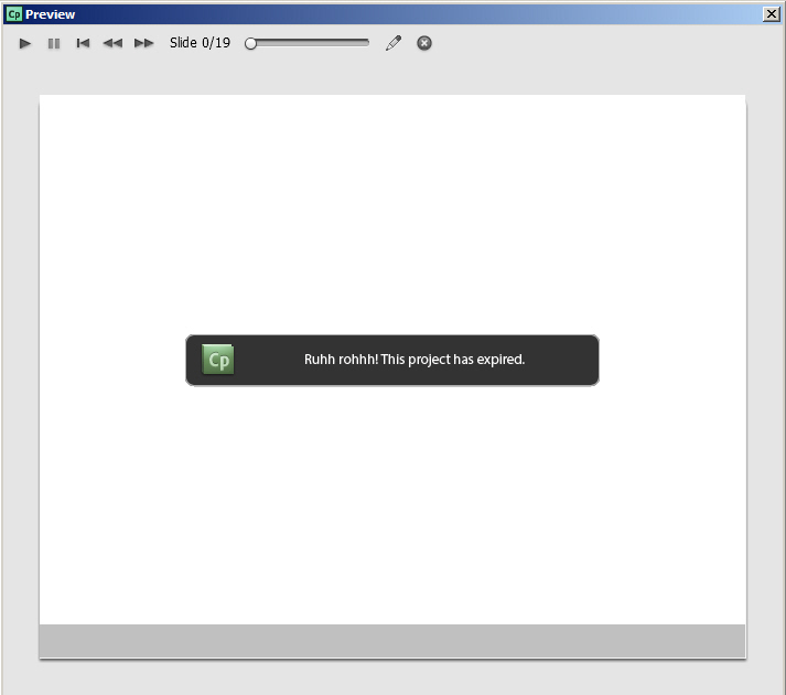 Project expiry message.