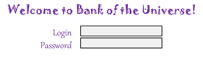 Bank of the Universe fonts