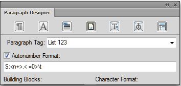 Adobe FrameMaker: List 123