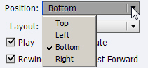 Adobe Captivate: Position drop-down menu.
