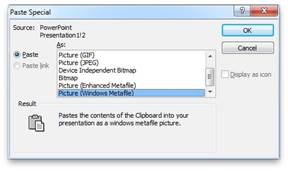Microsoft PowerPoint: Paste as Metafile
