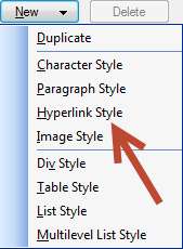 Adobe RoboHelp: Create a new Hyperlink Style.