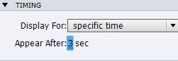 Setting the Appear After time in Adobe Captivate.