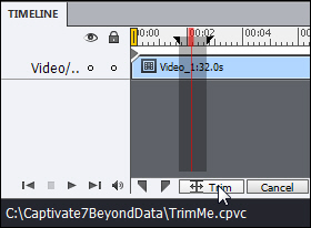 Adobe Captivate:  Part of a video selected from Trimming.