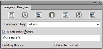 Adobe FrameMaker: List ABC