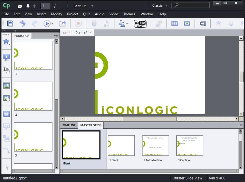 Adobe Captivate: Image added to Main Master Slide.