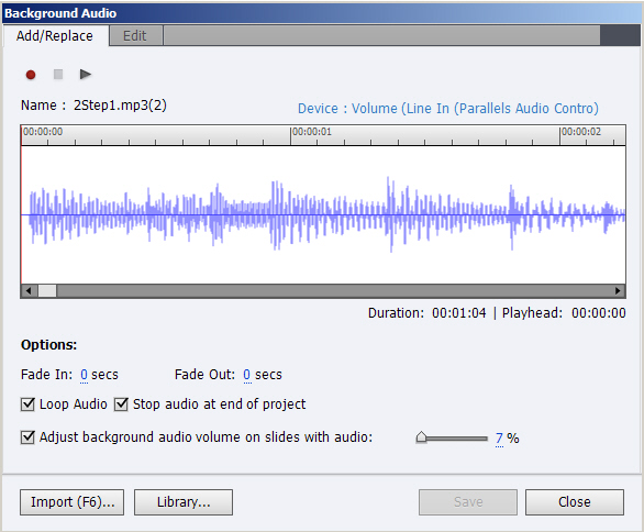 Background-level audio import