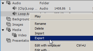 Exporting audio via the Library.