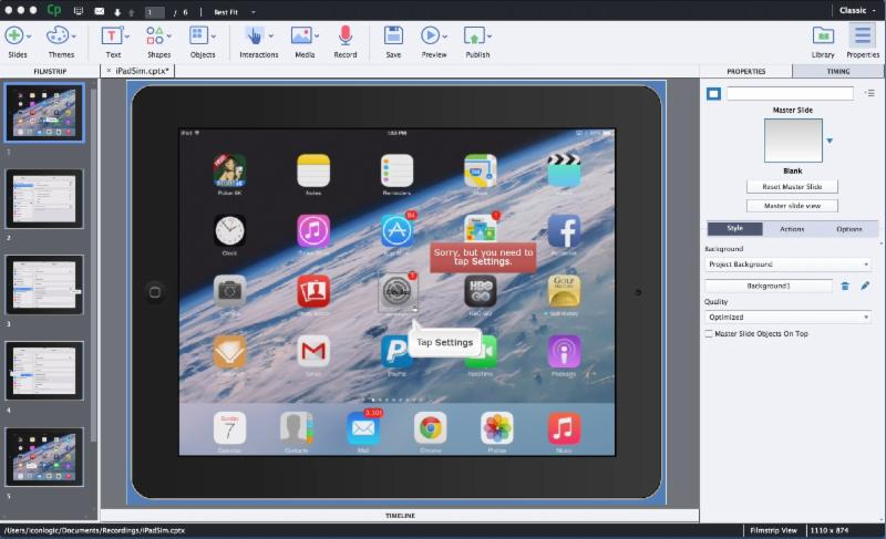 Software Simulation of the iPad as it looked in Adobe Captivate 8.
