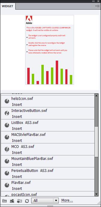 Adobe Captivate: Widget Panel