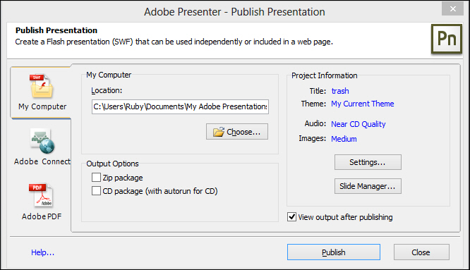 Adobe Presenter: Publish dialog box