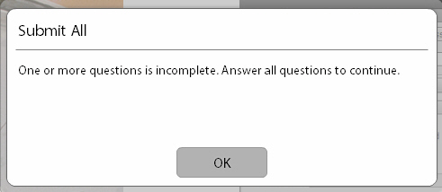 Adobe Captivate: One or more questions is incomplete warning.