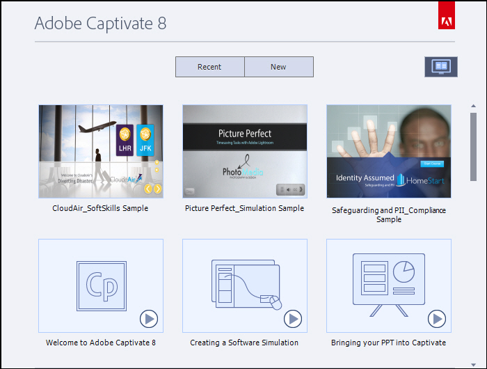 Adobe Captivate: Sample projects and tutorials