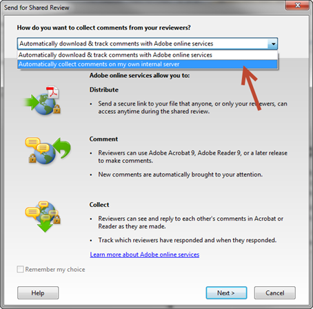Adobe RoboHelp: Collect Comments drop-down menu.