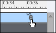 Adobe Captivate: Mouse point selected on the Timeline.